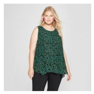 Ava & Viv Sz 3X Sleeveless Green Animal Print Top